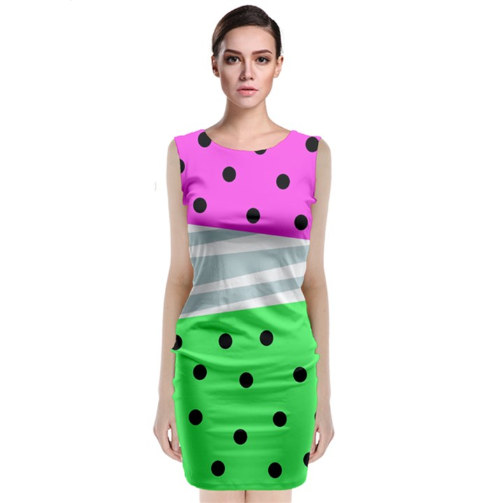 Dots and lines, mixed shapes pattern, colorful abstract design Sleeveless Velvet Midi Dress