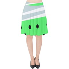 Dots And Lines, Mixed Shapes Pattern, Colorful Abstract Design Velvet High Waist Skirt by Casemiro