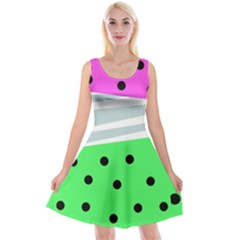 Dots And Lines, Mixed Shapes Pattern, Colorful Abstract Design Reversible Velvet Sleeveless Dress by Casemiro
