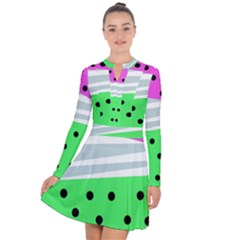 Dots And Lines, Mixed Shapes Pattern, Colorful Abstract Design Long Sleeve Panel Dress