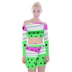 Dots And Lines, Mixed Shapes Pattern, Colorful Abstract Design Off Shoulder Top With Mini Skirt Set by Casemiro
