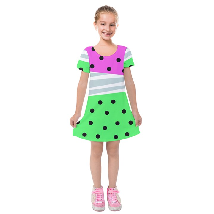 Dots and lines, mixed shapes pattern, colorful abstract design Kids  Short Sleeve Velvet Dress