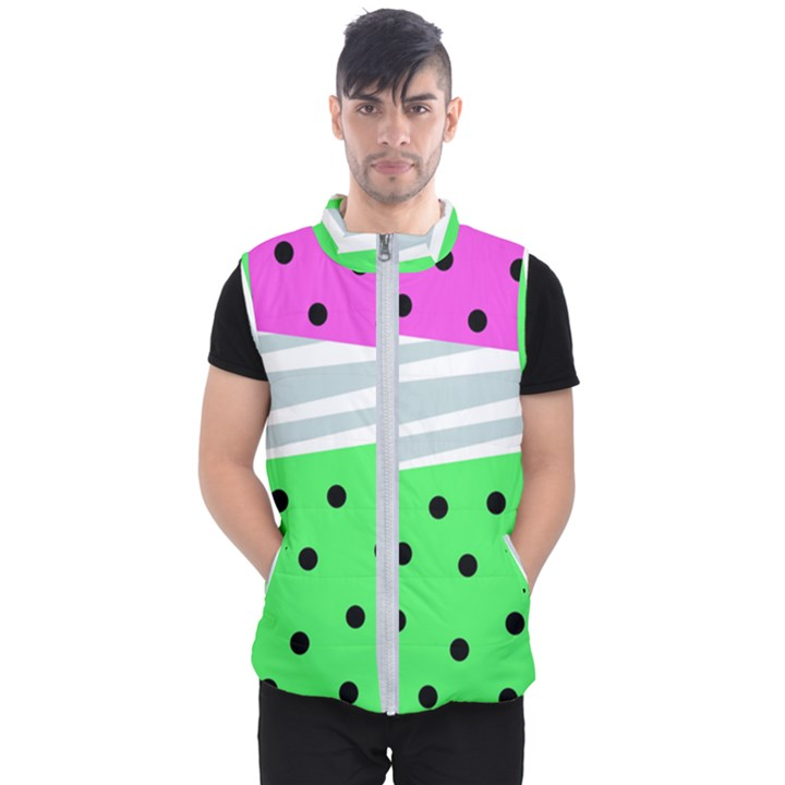 Dots and lines, mixed shapes pattern, colorful abstract design Men s Puffer Vest