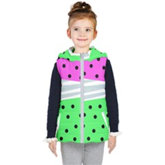 Dots And Lines, Mixed Shapes Pattern, Colorful Abstract Design Kids  Hooded Puffer Vest by Casemiro