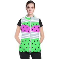 Dots And Lines, Mixed Shapes Pattern, Colorful Abstract Design Women s Puffer Vest by Casemiro