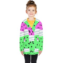 Dots And Lines, Mixed Shapes Pattern, Colorful Abstract Design Kids  Double Breasted Button Coat by Casemiro