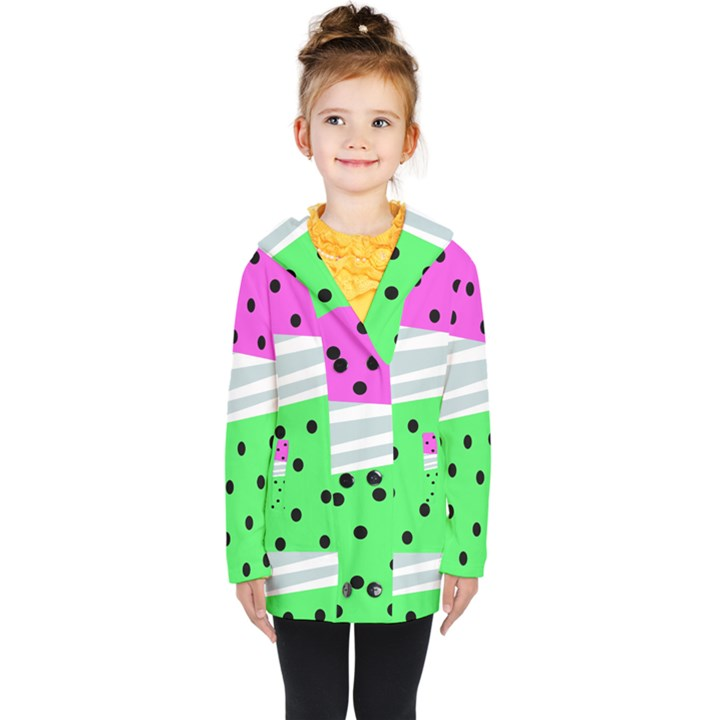 Dots and lines, mixed shapes pattern, colorful abstract design Kids  Double Breasted Button Coat