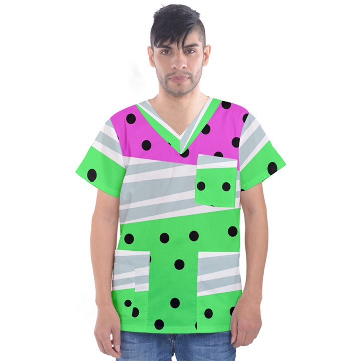 Dots and lines, mixed shapes pattern, colorful abstract design Men s V-Neck Scrub Top
