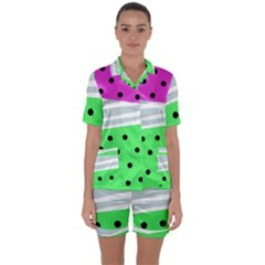 Dots And Lines, Mixed Shapes Pattern, Colorful Abstract Design Satin Short Sleeve Pyjamas Set by Casemiro