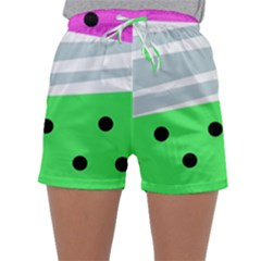 Dots And Lines, Mixed Shapes Pattern, Colorful Abstract Design Sleepwear Shorts by Casemiro