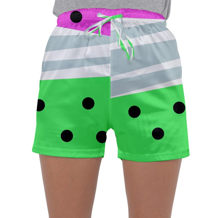 Dots and lines, mixed shapes pattern, colorful abstract design Sleepwear Shorts