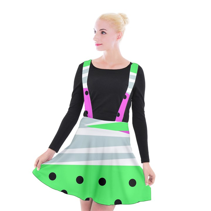 Dots and lines, mixed shapes pattern, colorful abstract design Suspender Skater Skirt