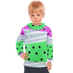 Dots And Lines, Mixed Shapes Pattern, Colorful Abstract Design Kids  Hooded Pullover