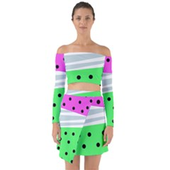Dots And Lines, Mixed Shapes Pattern, Colorful Abstract Design Off Shoulder Top With Skirt Set by Casemiro