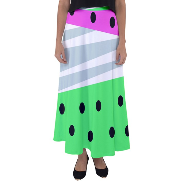 Dots and lines, mixed shapes pattern, colorful abstract design Flared Maxi Skirt