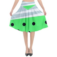 Dots And Lines, Mixed Shapes Pattern, Colorful Abstract Design Flared Midi Skirt by Casemiro