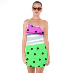 Dots And Lines, Mixed Shapes Pattern, Colorful Abstract Design One Soulder Bodycon Dress by Casemiro