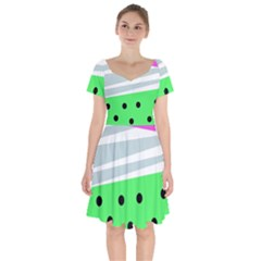Dots And Lines, Mixed Shapes Pattern, Colorful Abstract Design Short Sleeve Bardot Dress by Casemiro