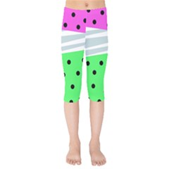 Dots And Lines, Mixed Shapes Pattern, Colorful Abstract Design Kids  Capri Leggings  by Casemiro