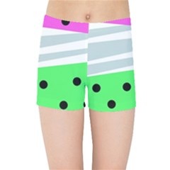Dots And Lines, Mixed Shapes Pattern, Colorful Abstract Design Kids  Sports Shorts by Casemiro
