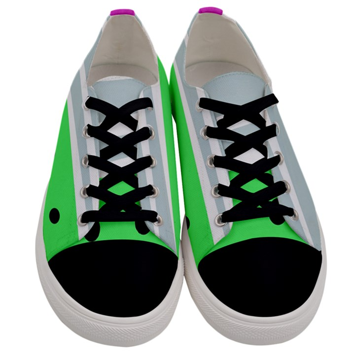 Dots and lines, mixed shapes pattern, colorful abstract design Men s Low Top Canvas Sneakers