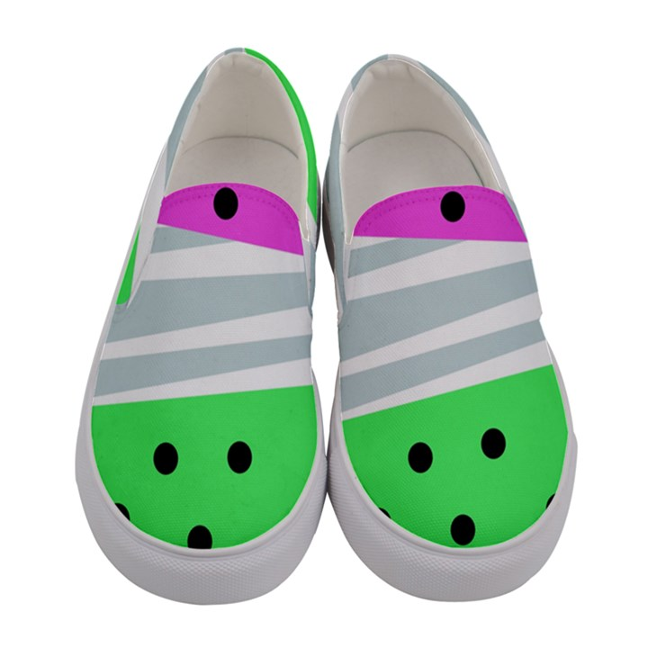 Dots and lines, mixed shapes pattern, colorful abstract design Women s Canvas Slip Ons