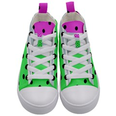 Dots And Lines, Mixed Shapes Pattern, Colorful Abstract Design Kids  Mid-top Canvas Sneakers
