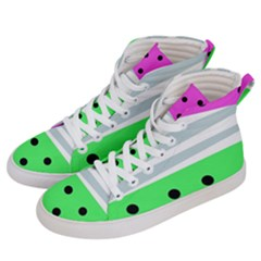 Dots And Lines, Mixed Shapes Pattern, Colorful Abstract Design Men s Hi-top Skate Sneakers by Casemiro