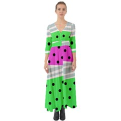 Dots And Lines, Mixed Shapes Pattern, Colorful Abstract Design Button Up Boho Maxi Dress by Casemiro