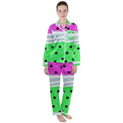 Dots And Lines, Mixed Shapes Pattern, Colorful Abstract Design Satin Long Sleeve Pyjamas Set by Casemiro