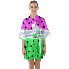 Dots And Lines, Mixed Shapes Pattern, Colorful Abstract Design Half Sleeve Satin Kimono  by Casemiro
