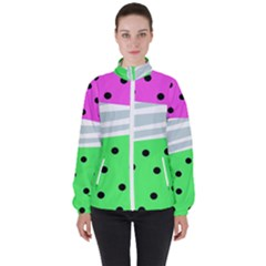 Dots And Lines, Mixed Shapes Pattern, Colorful Abstract Design Women s High Neck Windbreaker by Casemiro