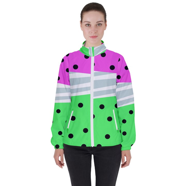 Dots and lines, mixed shapes pattern, colorful abstract design Women s High Neck Windbreaker