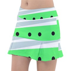 Dots And Lines, Mixed Shapes Pattern, Colorful Abstract Design Tennis Skorts by Casemiro