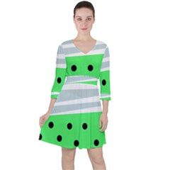 Dots And Lines, Mixed Shapes Pattern, Colorful Abstract Design Ruffle Dress by Casemiro