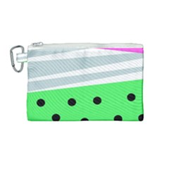 Dots And Lines, Mixed Shapes Pattern, Colorful Abstract Design Canvas Cosmetic Bag (medium)