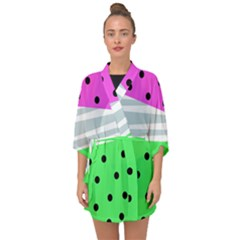 Dots And Lines, Mixed Shapes Pattern, Colorful Abstract Design Half Sleeve Chiffon Kimono by Casemiro