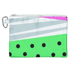 Dots And Lines, Mixed Shapes Pattern, Colorful Abstract Design Canvas Cosmetic Bag (xl) by Casemiro