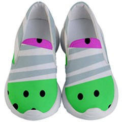Dots And Lines, Mixed Shapes Pattern, Colorful Abstract Design Kids Lightweight Slip Ons by Casemiro