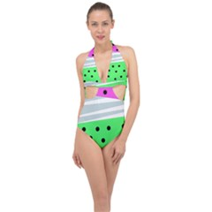 Dots And Lines, Mixed Shapes Pattern, Colorful Abstract Design Halter Front Plunge Swimsuit by Casemiro