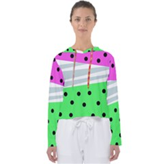 Dots And Lines, Mixed Shapes Pattern, Colorful Abstract Design Women s Slouchy Sweat by Casemiro