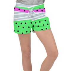 Dots And Lines, Mixed Shapes Pattern, Colorful Abstract Design Velour Lounge Shorts by Casemiro