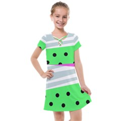 Dots And Lines, Mixed Shapes Pattern, Colorful Abstract Design Kids  Cross Web Dress by Casemiro