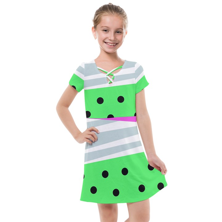 Dots and lines, mixed shapes pattern, colorful abstract design Kids  Cross Web Dress