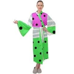 Dots And Lines, Mixed Shapes Pattern, Colorful Abstract Design Maxi Velour Kimono by Casemiro