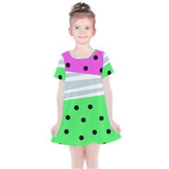 Dots And Lines, Mixed Shapes Pattern, Colorful Abstract Design Kids  Simple Cotton Dress by Casemiro