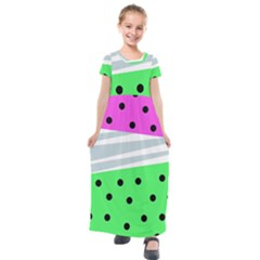 Dots And Lines, Mixed Shapes Pattern, Colorful Abstract Design Kids  Short Sleeve Maxi Dress by Casemiro