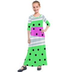 Dots And Lines, Mixed Shapes Pattern, Colorful Abstract Design Kids  Quarter Sleeve Maxi Dress by Casemiro