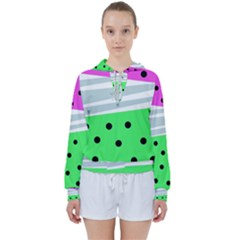 Dots And Lines, Mixed Shapes Pattern, Colorful Abstract Design Women s Tie Up Sweat by Casemiro
