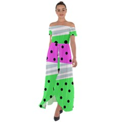 Dots And Lines, Mixed Shapes Pattern, Colorful Abstract Design Off Shoulder Open Front Chiffon Dress by Casemiro